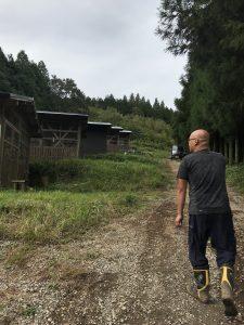 斜面を利用して建てられた鶏舎を案内して下さる陽気な伊藤さん
